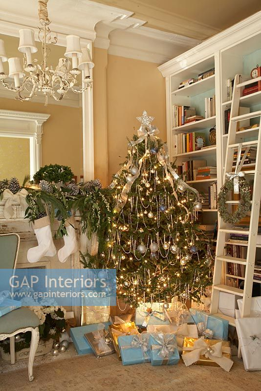 Christmas tree in classic living room