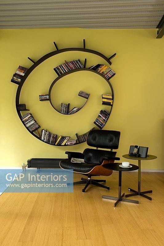 Modern Spiral Bookshelf In Living Room