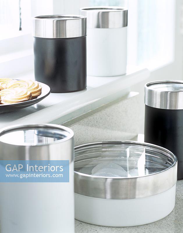 Modern Kitchen Jars gap interiors - detail of modern kitchen storage jars - image no