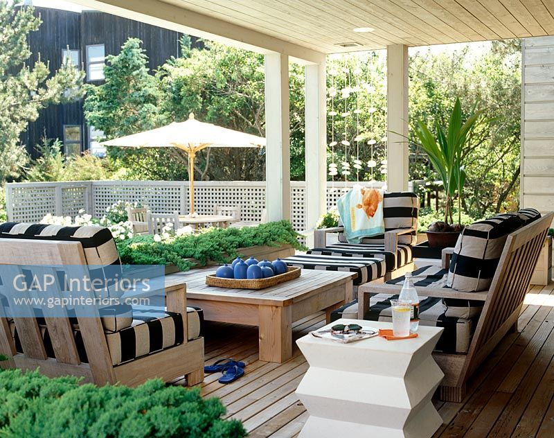 garden furniture on modern veranda