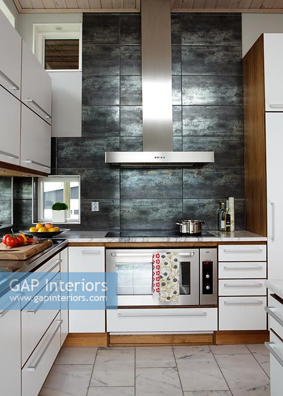 kitchen feature tiles gap interiors modern kitchen with slate feature wall 1616