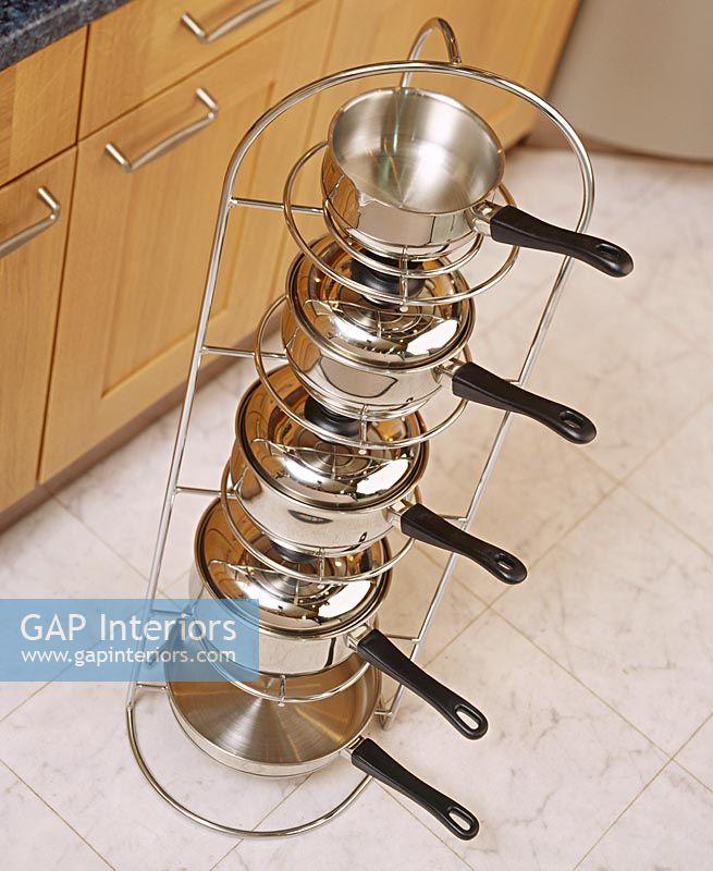 Detail Of Saucepan Stand In Modern Kitchen