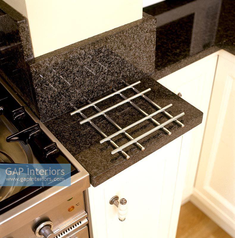Metal Heat Protector On Kitchen Worktop