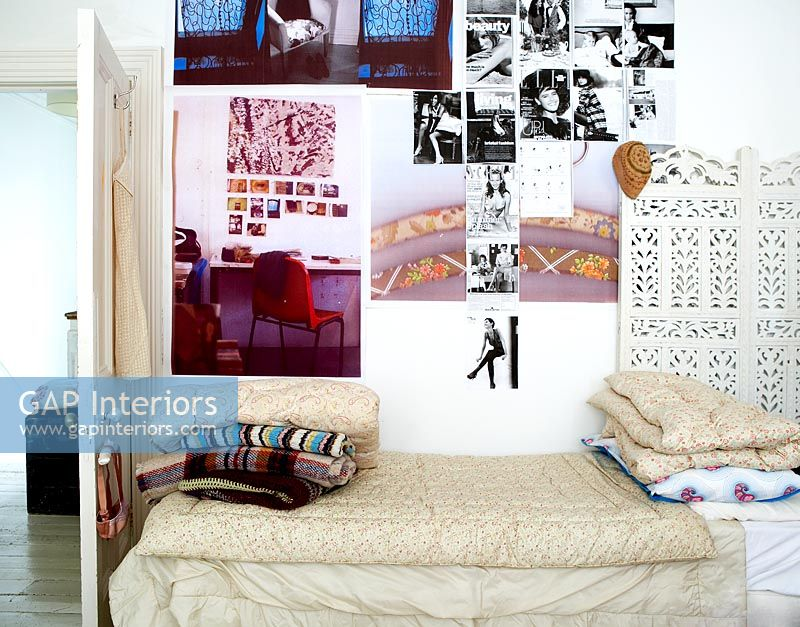 Montage of posters on bedroom wall. GAP Interiors   Montage of posters on bedroom wall   Image No