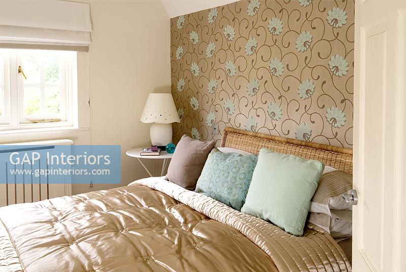 Classic Bedroom With Metallic Wallpaper