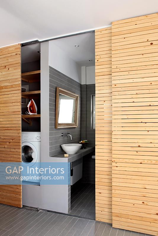 Bathroom with sliding doors