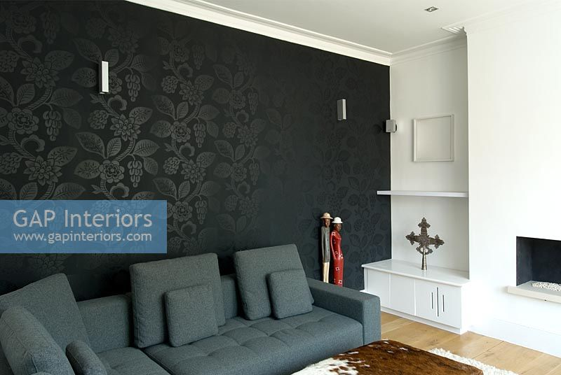 black feature wall living room gap interiors modern living room with black feature wall 23378