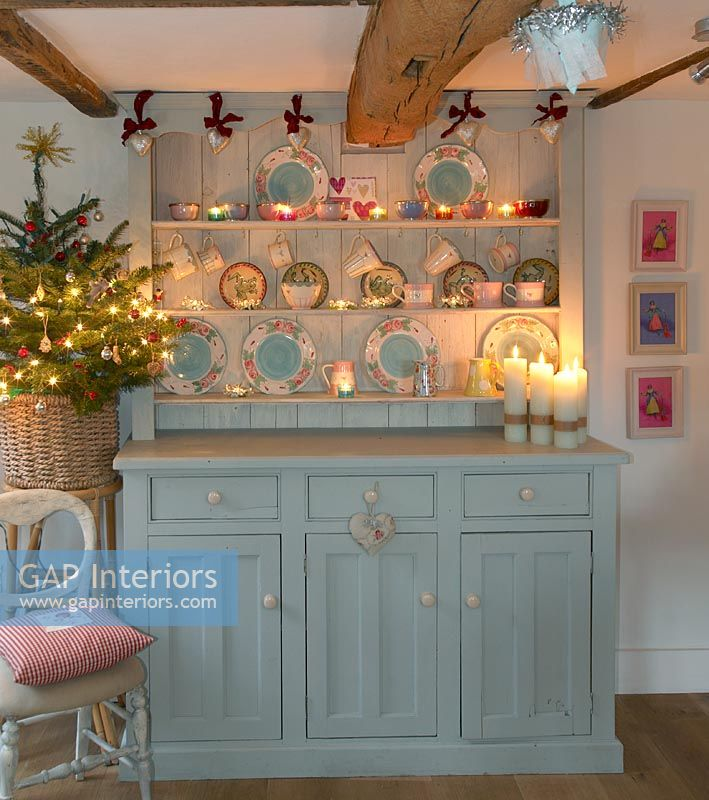 Dresser in country dining room at Christmas