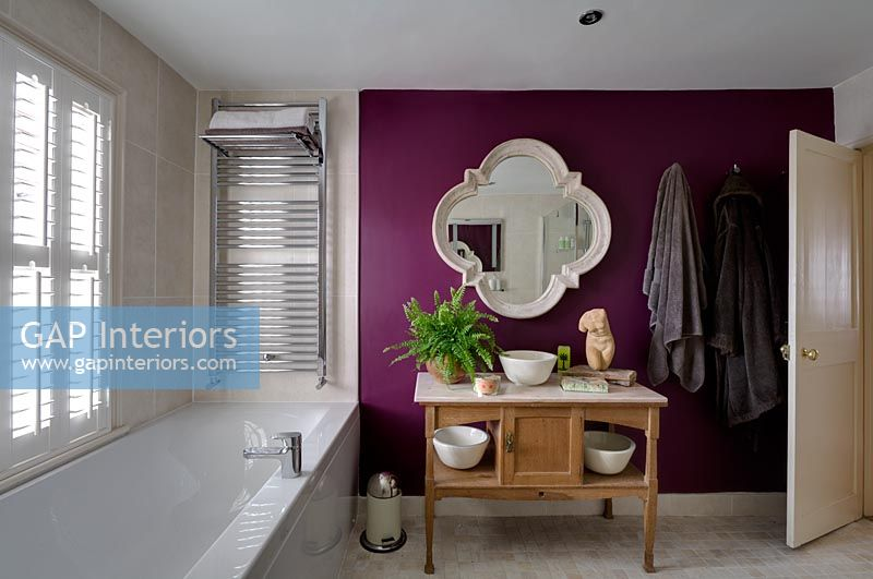 Modern Bathroom With Purple Feature Wall