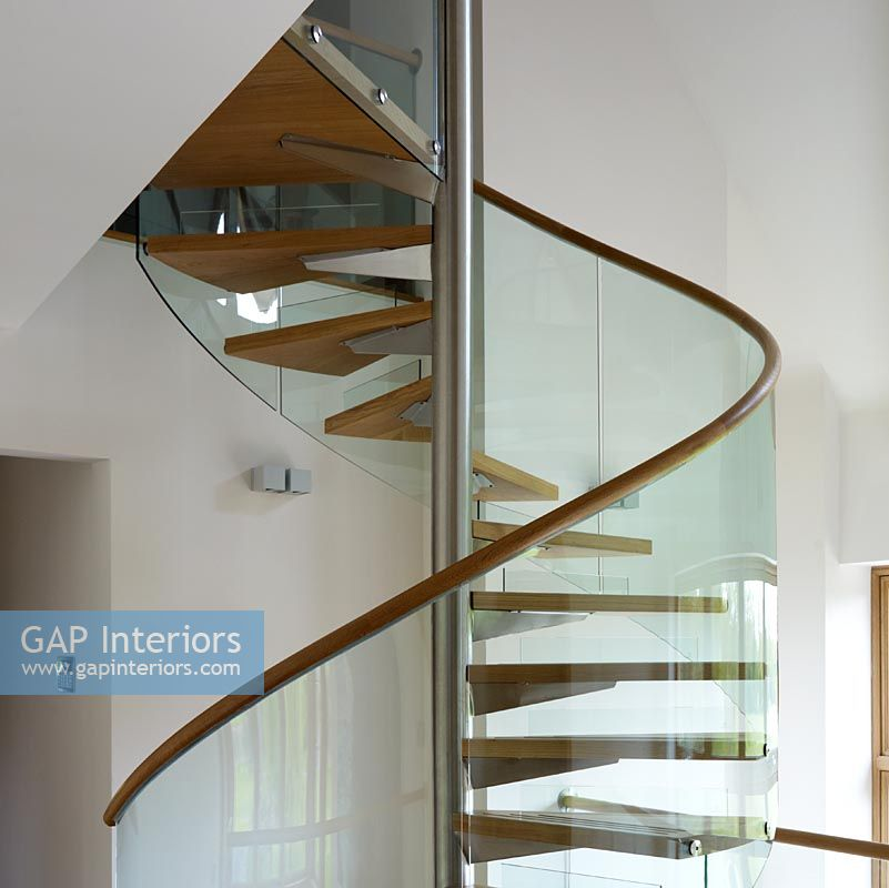 Detail of contemporary spiral staircase