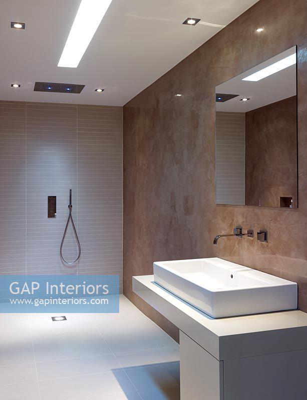 wet room lighting. Double Sink In Contemporary Wet Room Lighting E
