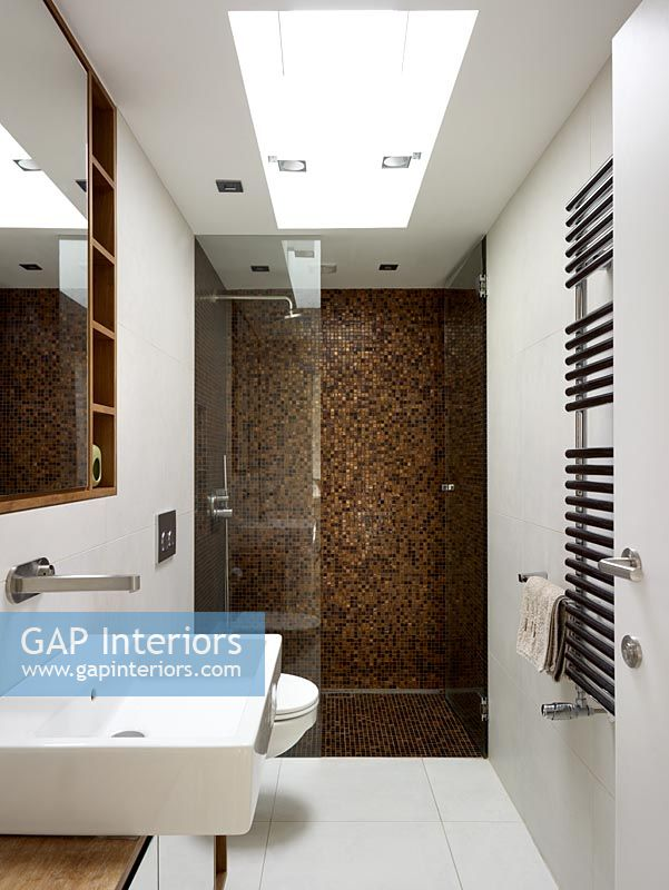 GAP Interiors - Modern bathroom with feature wall in shower - Image ...