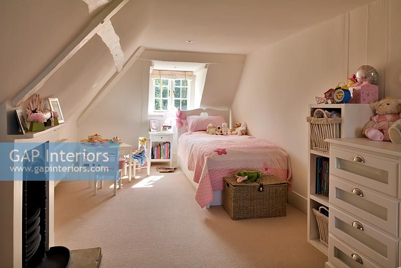 Childrens bedroom in country loft room