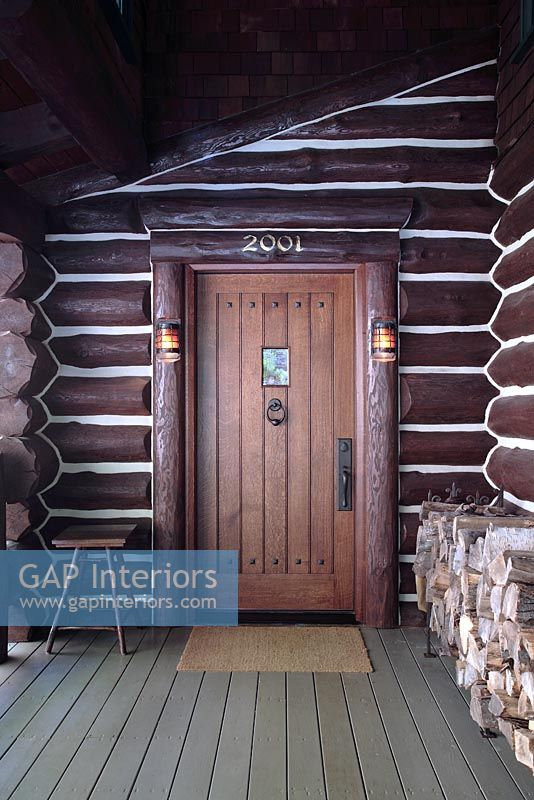 GAP Interiors - Front door of log cabin - Image No: 0067481 ...