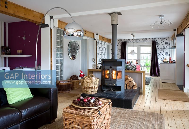 Gap Interiors Open Plan Living Room With Wood Burning Stove