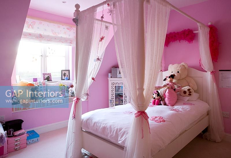 Gap Interiors Pink Childrens Bedroom With Four Poster