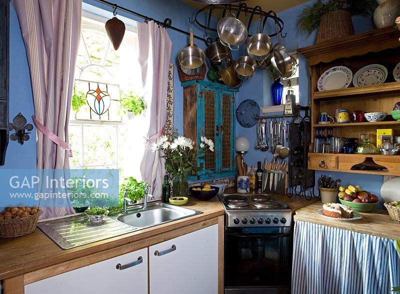 Gap Interiors Country Kitchen With Blue Walls Image No