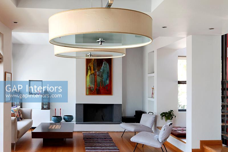 GAP Interiors - Contemporary living room with large pendant lights ...