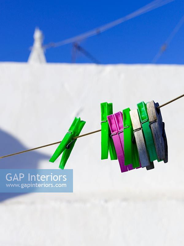 Pegs on washing line