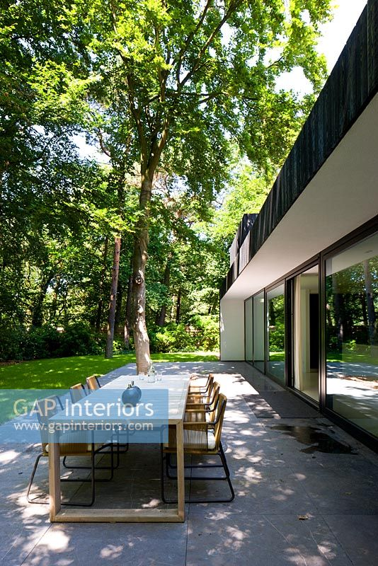 Contemporary patio in woodland garden