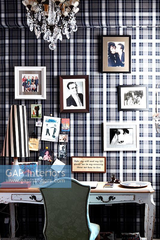 Vintage study with tartan wallpaper