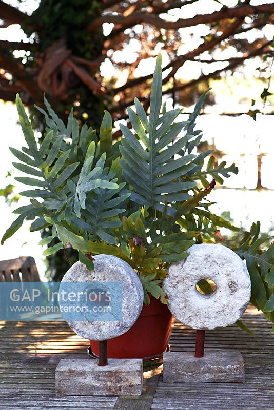 Stone ornaments and potted fern on wooden table