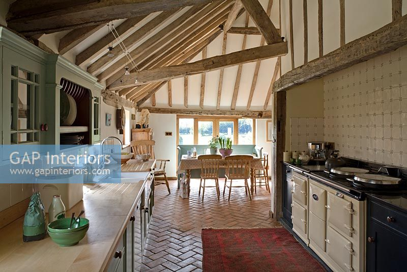 Open plan kitchen in converted barn
