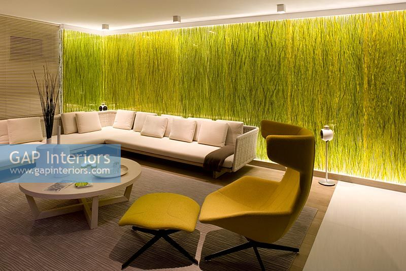 Modern Living Room With Grass In Resin Feature Wall