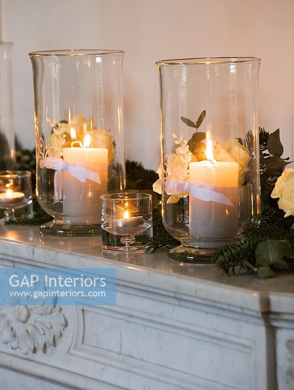 Decorative marble mantlepiece with Roses and candles