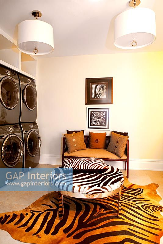 Laundry room with seating area