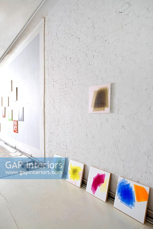 Abstract paintings display