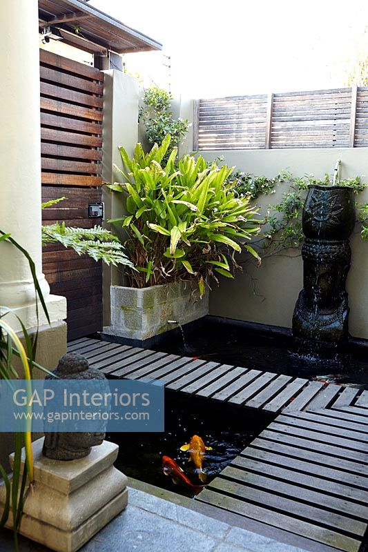 Compact garden with water features