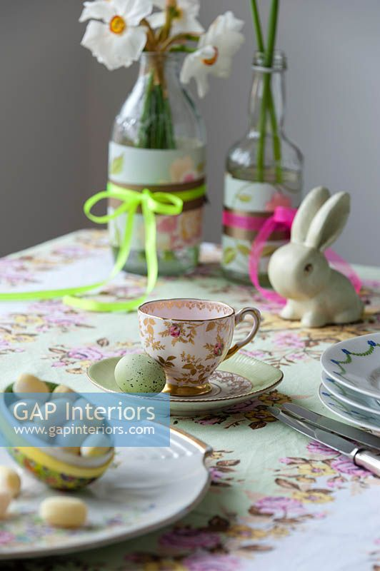 Table set for Easter tea party