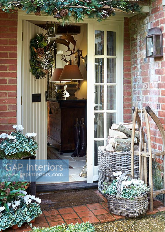Cottage front door at christmas