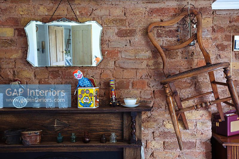 Vintage accessories on mantlepiece