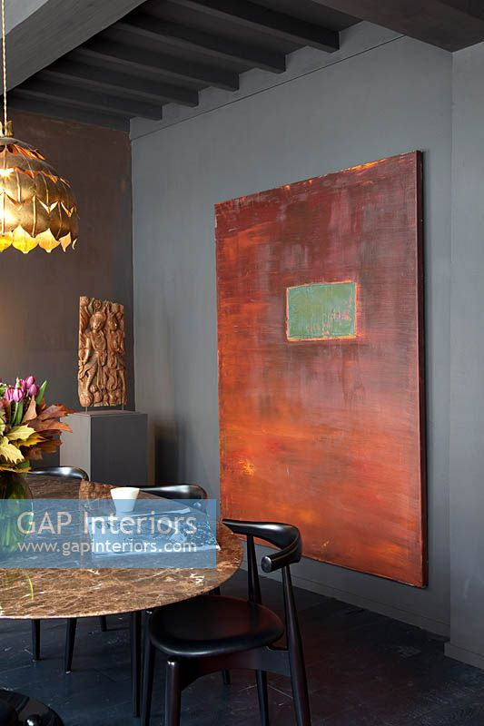 Abstract painting in dining room