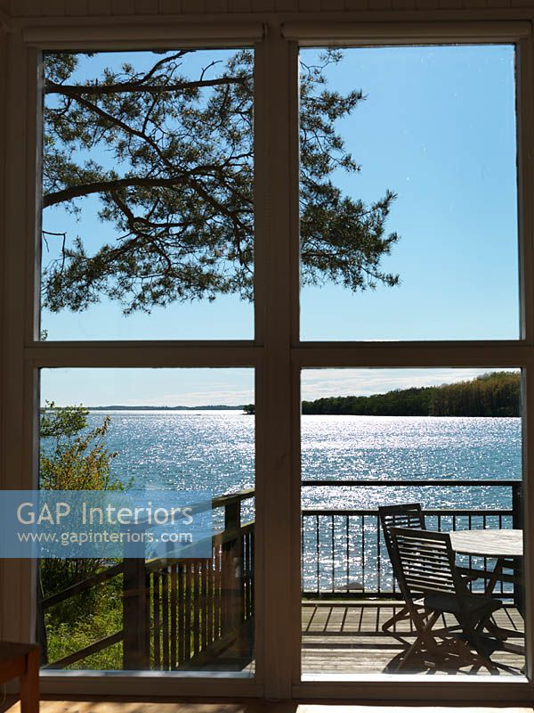 View of sea from patio doors