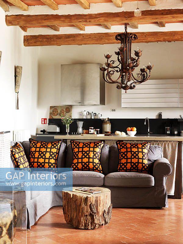 Gap Interiors Grey Sofa With Orange Cushions Image No 0142910
