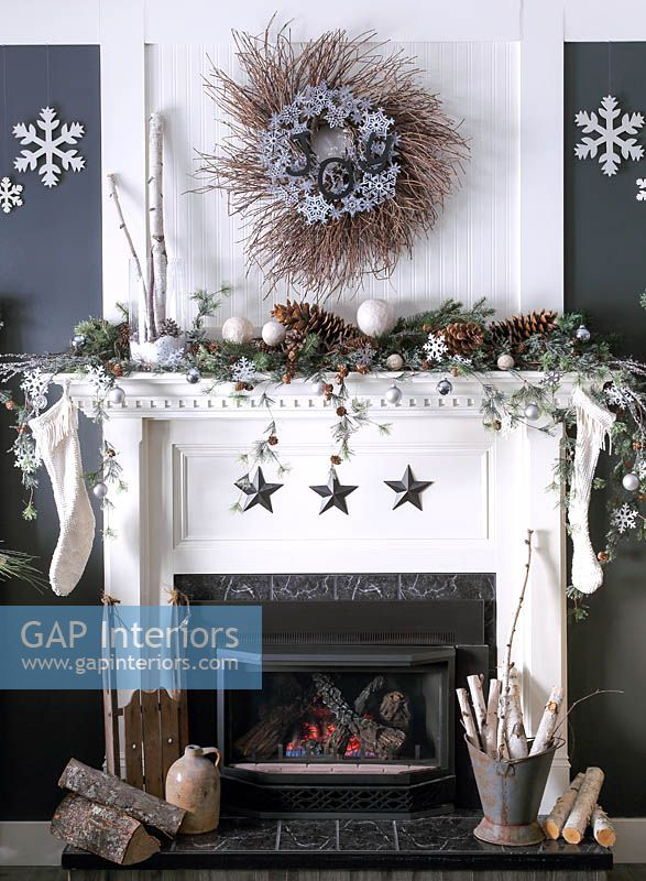 Christmas decorations around fireplace