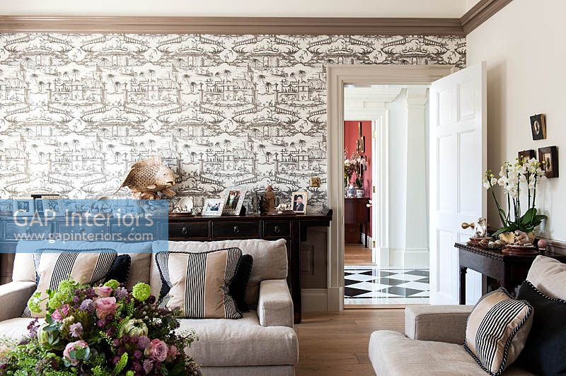 Patterned wallpaper in living room