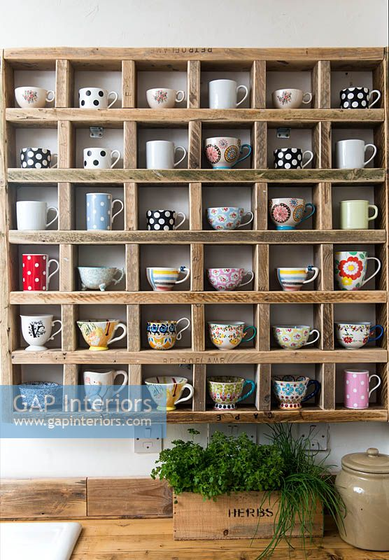 Colourful cups display