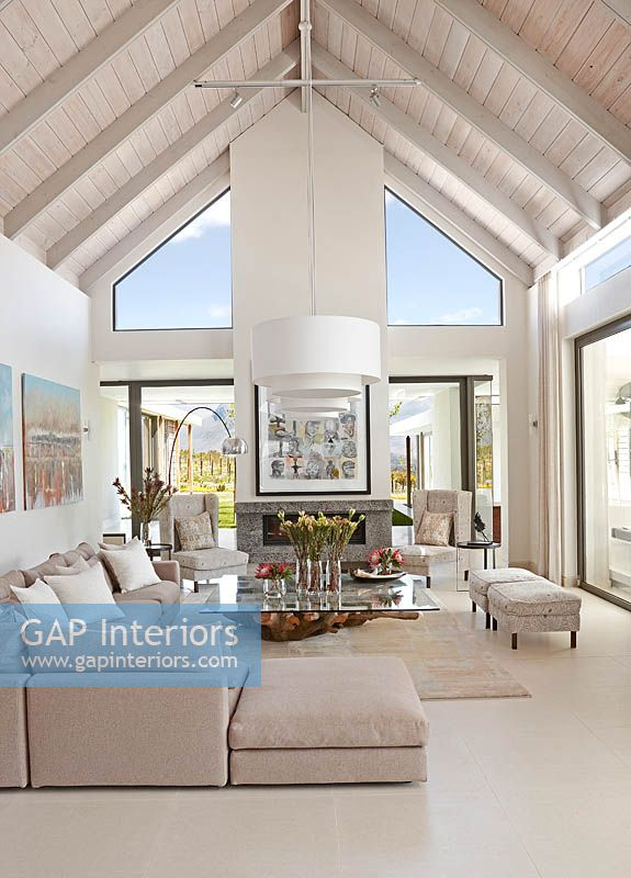 Modern Living Room With Vaulted Ceiling
