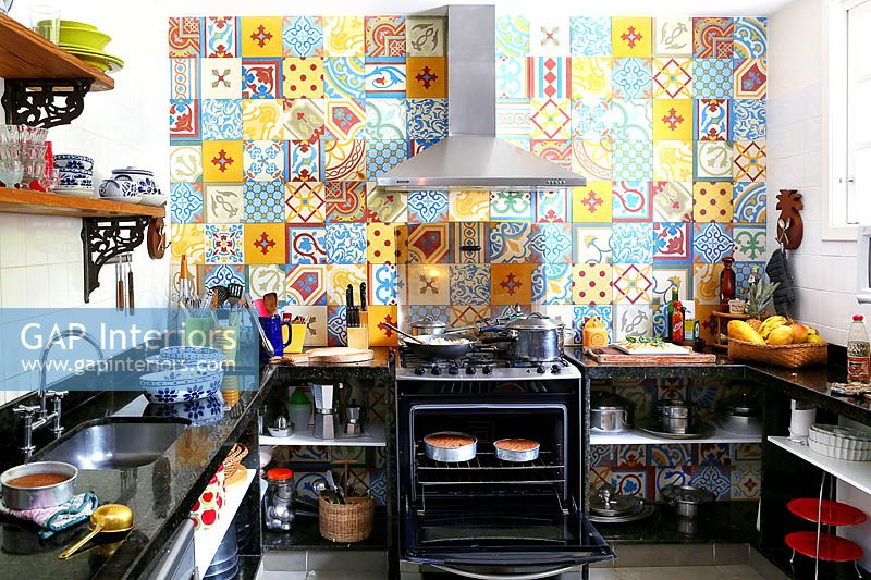 Colourful tiles in kitchen