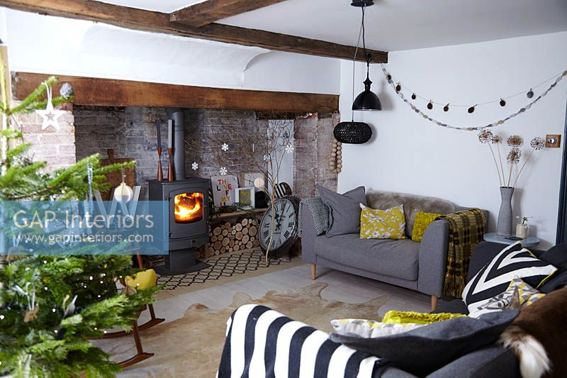 Gap Interiors Living Room Decorated For Christmas