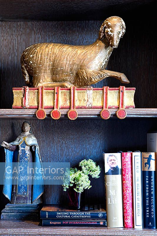 Ornaments on bookcase