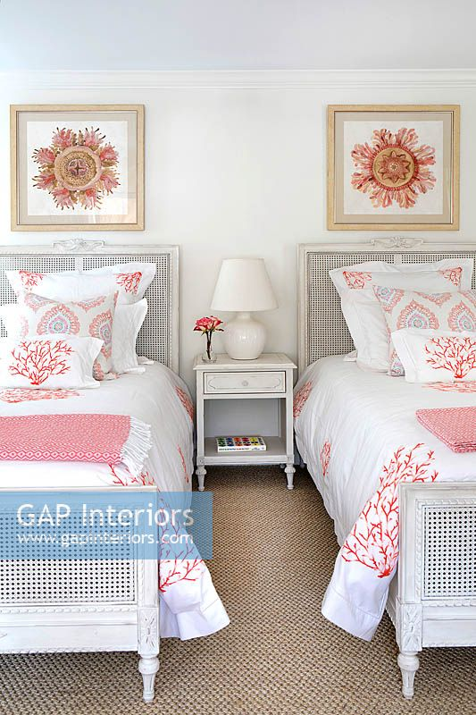 Patterned soft furnishings on bed