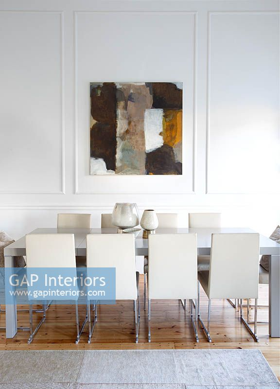 Abstract painting in dining area
