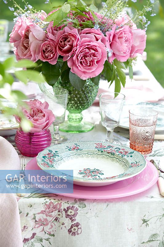 Place setting on garden table