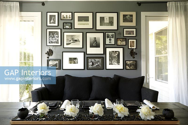 Photo display on dining room wall