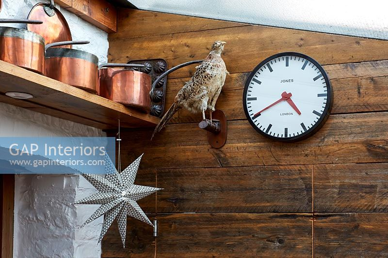 Accessories and taxidermy in kitchen